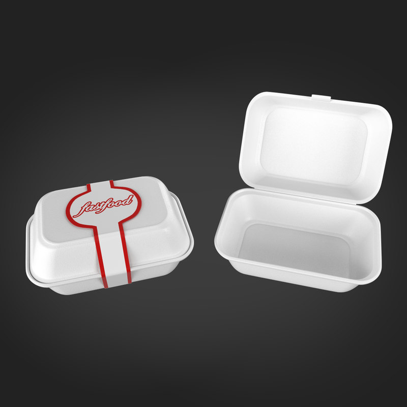 3d model disposables containers styrofoams open