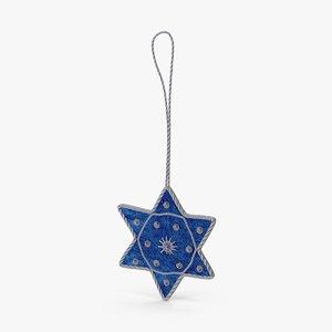 3d star david ornament 02 model