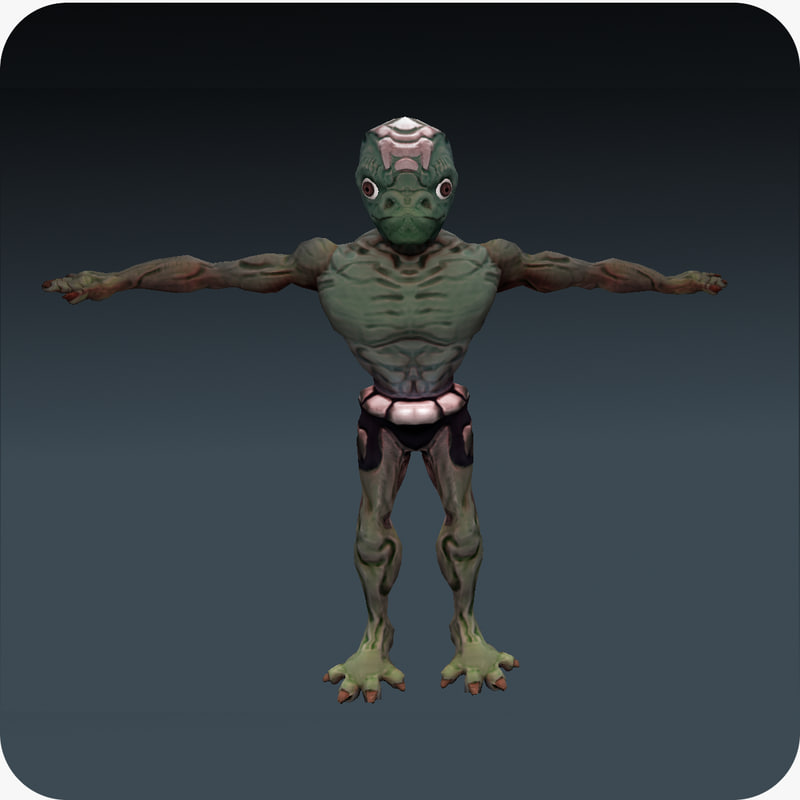 3d rigged alien reptile character model