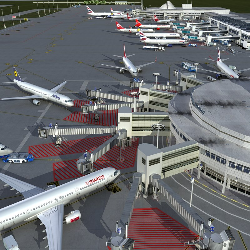 3d advanced airport vehicles planes model