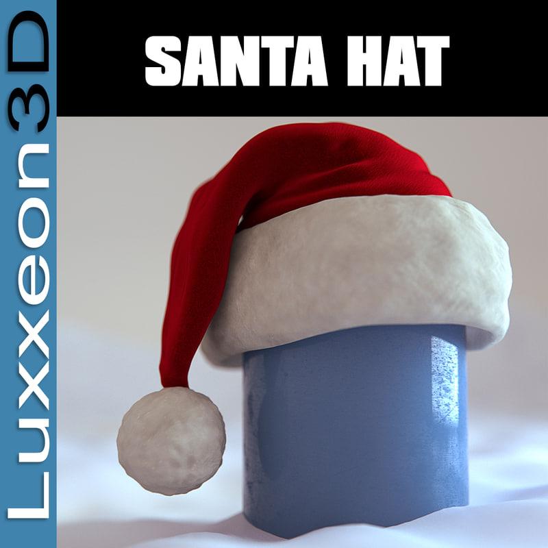 3d model of santa christmas hat