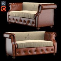 sofa polo brown leather 3d model