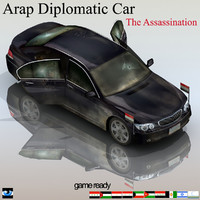 assassination arab diplomatic car 3d model