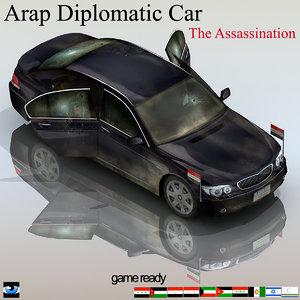 assassination arab diplomatic car 3d model