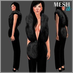 3d model jumpsuit fur stole