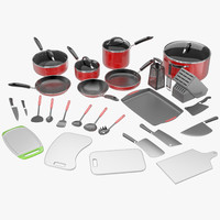 3d kitchen utensils pans pots