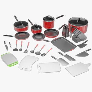 3d kitchen utensils pans pots