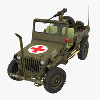 jeep willys ambulance rigged 3d max