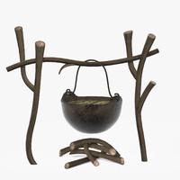 3d model campfire iron pot