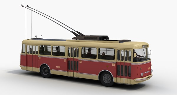 3d skoda 9tr trolleybus passengers