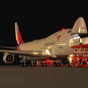 3d scene loading operation boeing 747-400