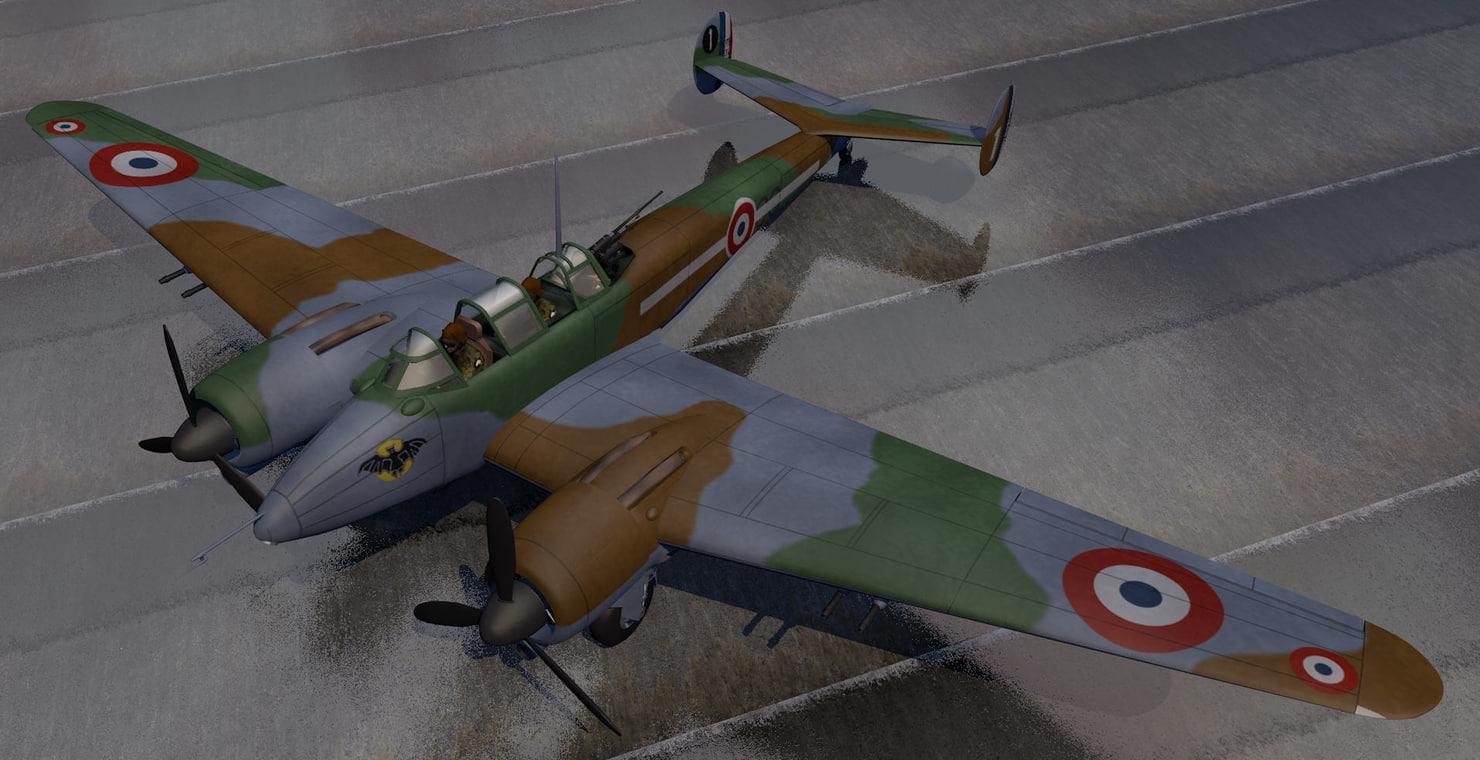 3d plane potez 631 fighter aircraft model
