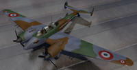 3d plane potez 631 fighter aircraft model