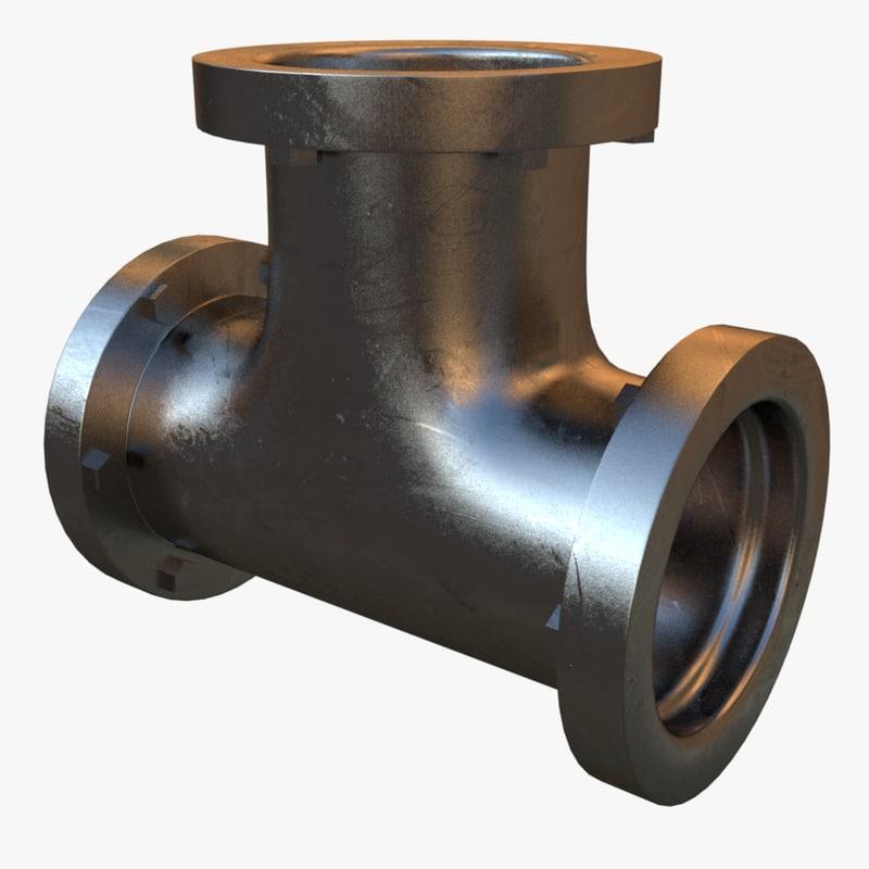 3d model of steel t pipe