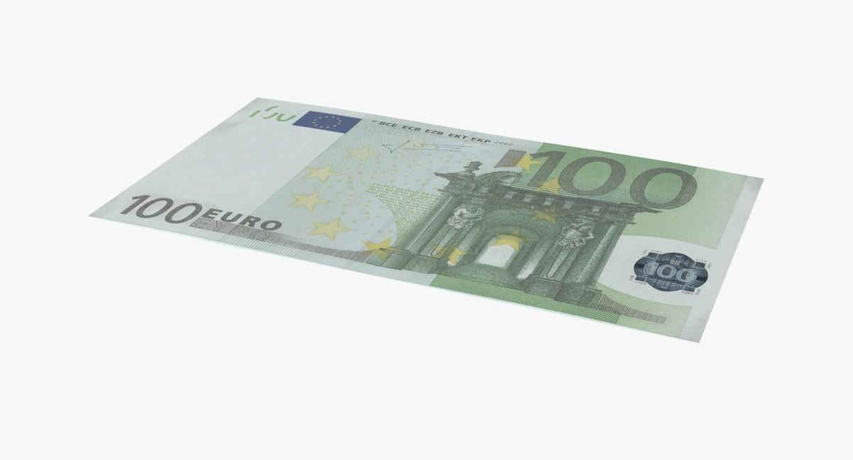 100 euro bill single 3d model