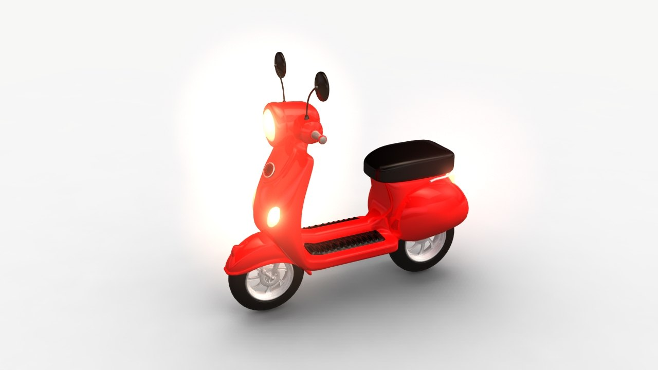 3d model cartoon motorbike