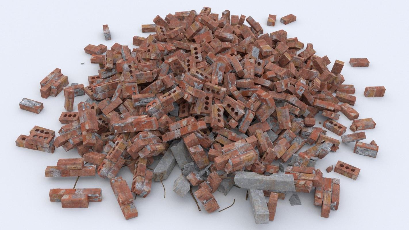 pile brick rubble 3d model