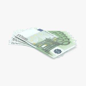 3d model 100 euro bill fanned
