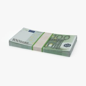 3d 100 euro bill stack model