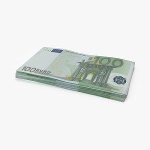 stack 100 euro bill 3d max