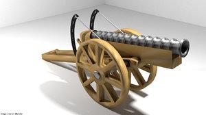 3d cannon malaka meriam