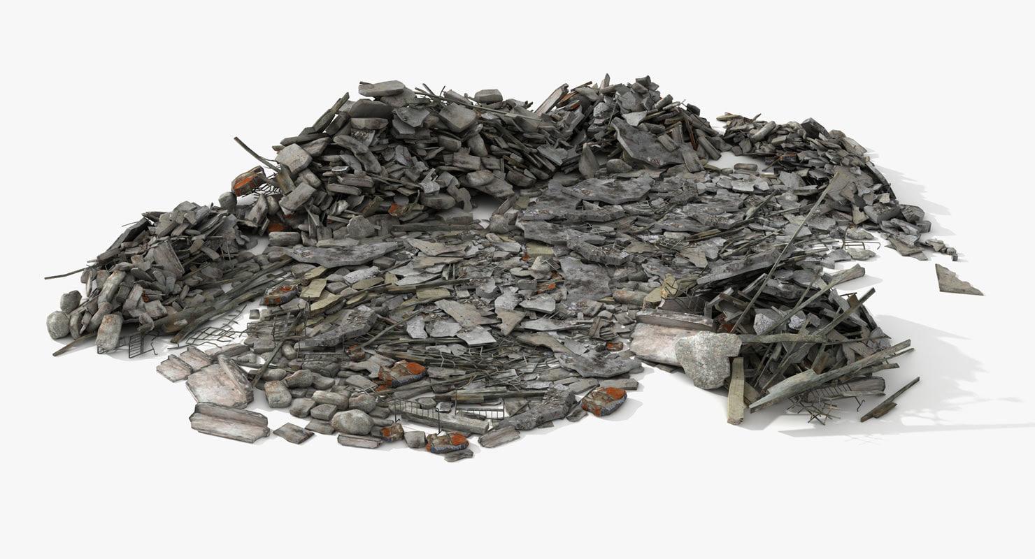 heaps debris rubble scene 3d max