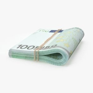 3d model 100 euro bill folded