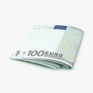 max 100 euro bill folded