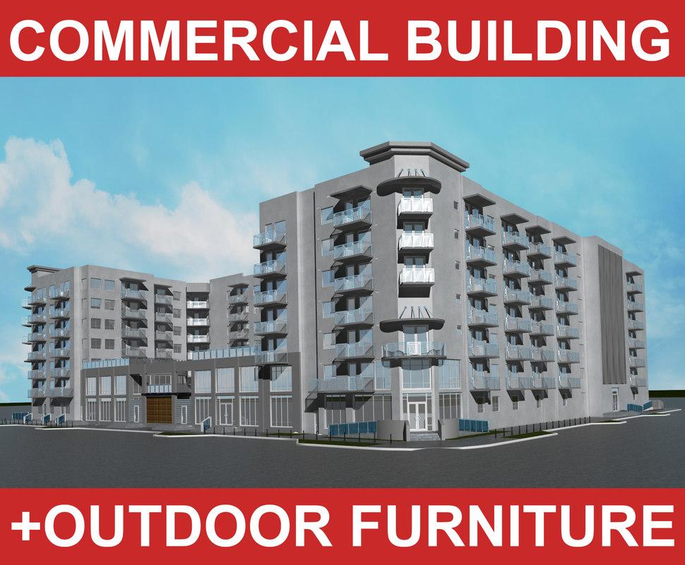 city block commercial building office 3d model