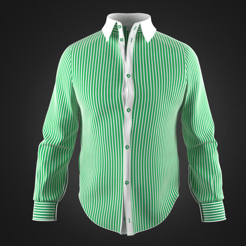 shirt green stripe 3d model