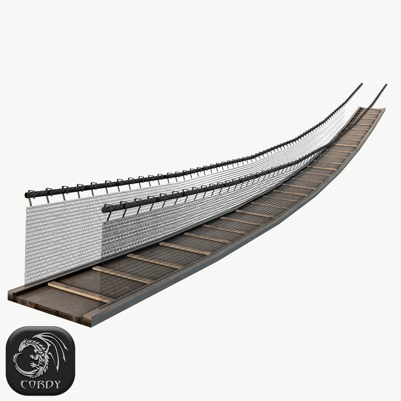 wooden rope bridge 3d max