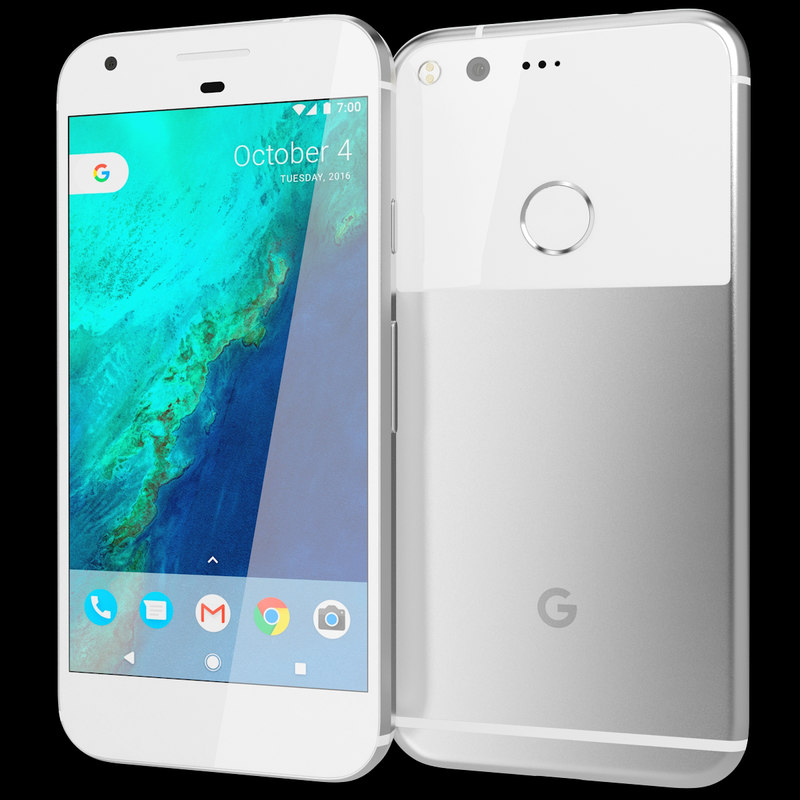 realistic google pixel silver 3d model