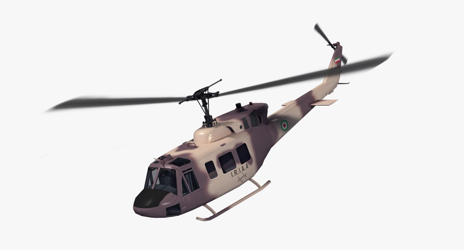 iranian uh-1n huey helicopter 3d 3ds