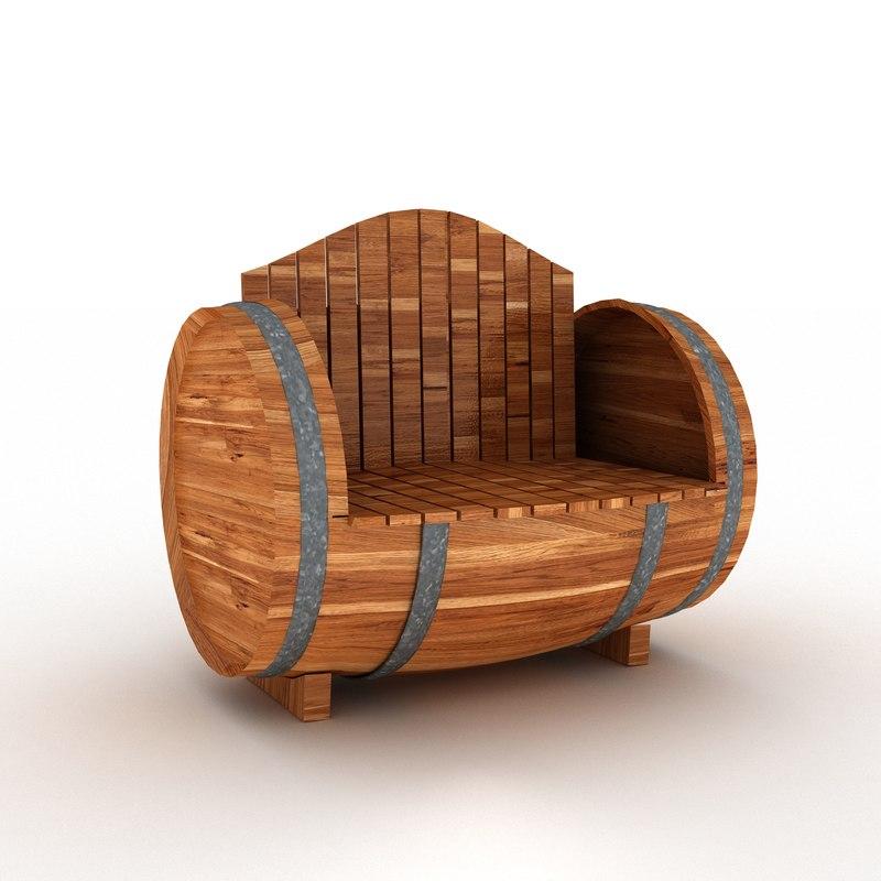 barrel bench 3d max