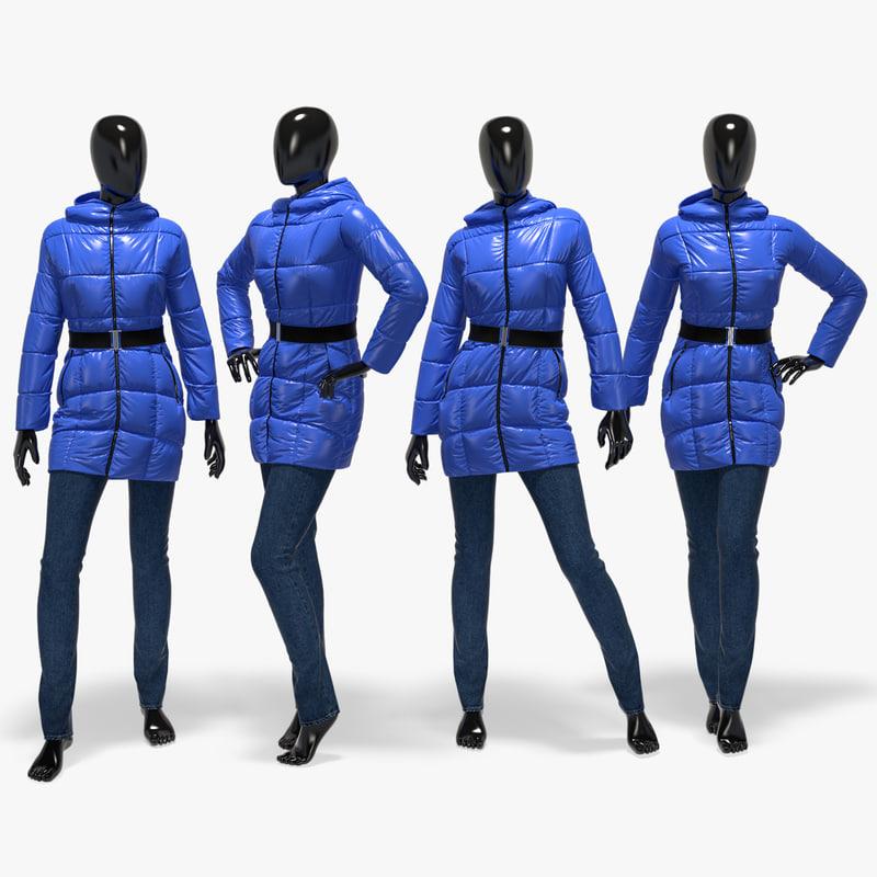3d set winter jackets jeans