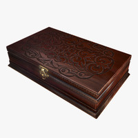 3d antique wooden box