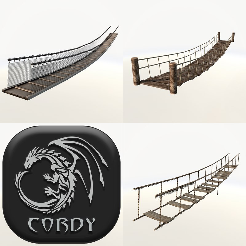 wooden rope bridges 3d 3ds