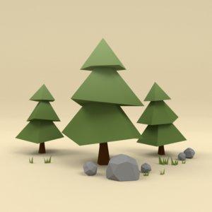 grass trees 3d model