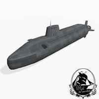 3d astute class submarines astute-class model