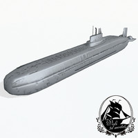 3d russian class submarine typhoon model