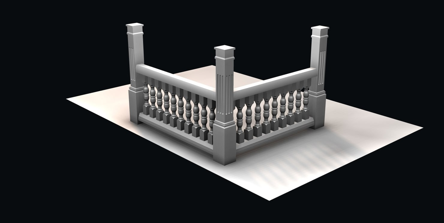 3d baluster rail patio model