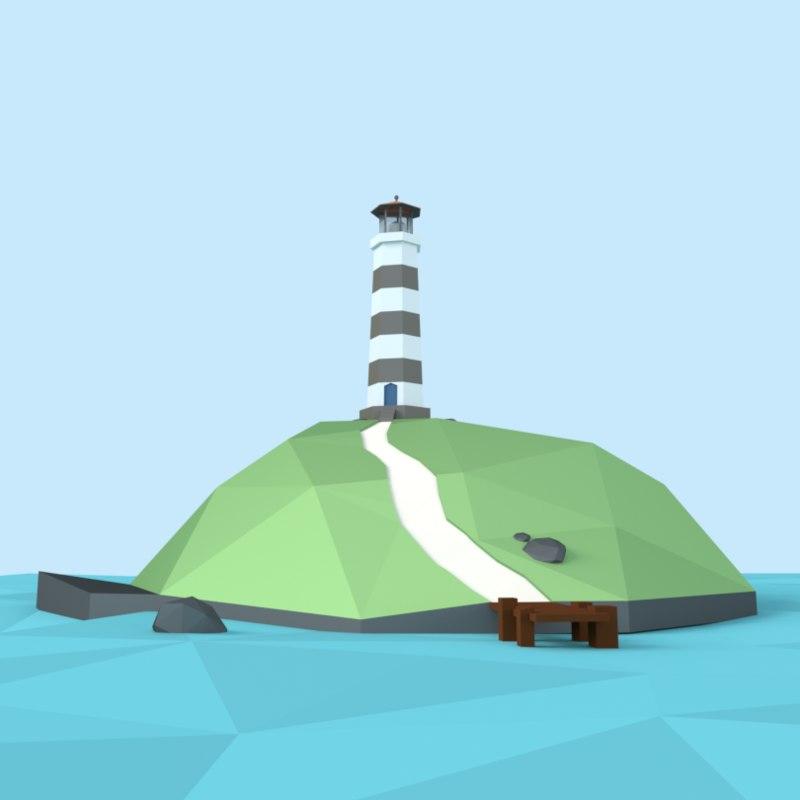 3d model island lighthouse