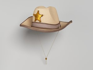 3d model sheriff hat