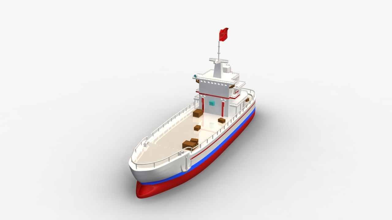 3d cartoon ship model