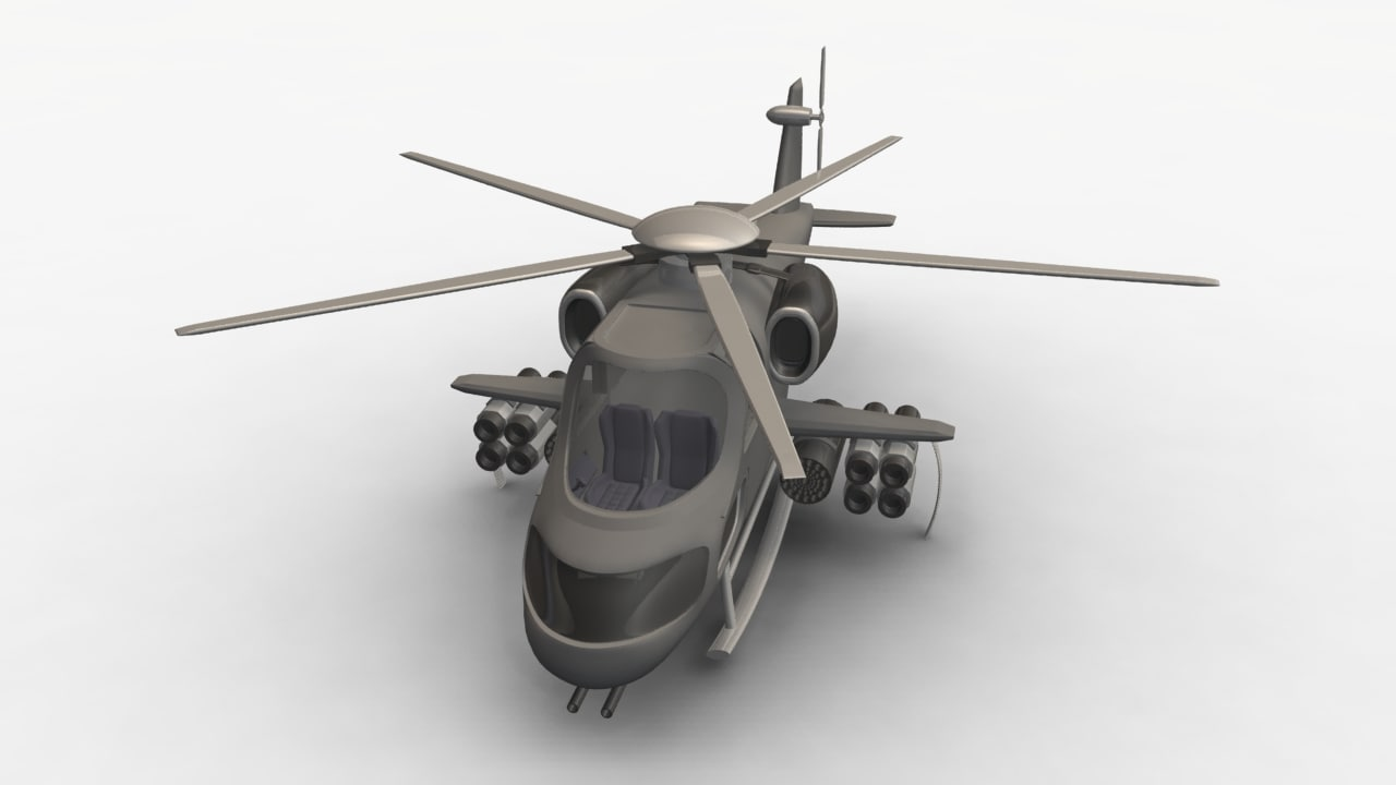 3d cartoon helicopter model
