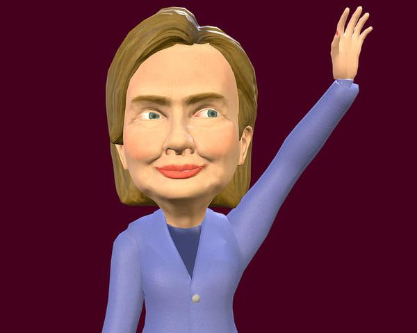 hillary clinton caricature 3d model