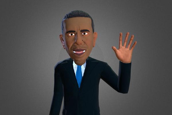 3d fbx barack obama caricature