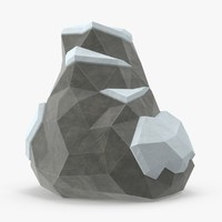 Low Poly Snow Covered Boulder 02