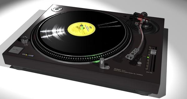 free technics sl-1200mkb turntable 3d model