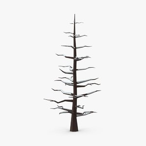 3d model bare tree snow covered